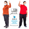 image of two people with thumbs up next to covid vaccine bottle