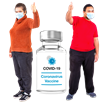 image of two people with their thumbs up next to a bottle of Covid 19 vaccine