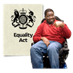 image of the equality act and person in a wheel chair