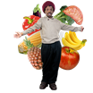 image of man smiling in front of healthy food
