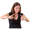 image of woman with thumbs up
